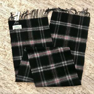 Black Plaid Wool Scarf
